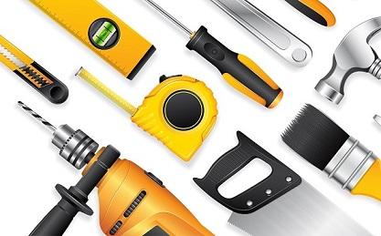 Construction concept tools shop service banner set all of tools